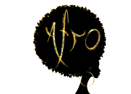 curly afro hair, African American portrait, dark skin female face with curly afro hair, ethnic traditional golden earrings, hair style concept, Afro grunge gold text, vector isolated or white background Illustration