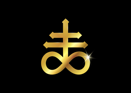 Golden Leviathan Cross alchemical symbol for sulfur, associated with the fire and brimstone of hell. Vector gold icon isolated. Flash tattoo or print design, naval symbol, cross of Satan in black background