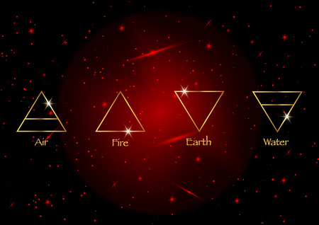 icon elements: Air, Earth, Fire and Water. Wiccan divination symbols. Ancient occult gold symbols, south, east, north, west, vector illustration red cosmos space background