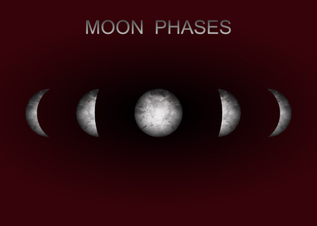 Moon phases astronomy realistic image on black background. Vector illustration of cycle from new to full moon