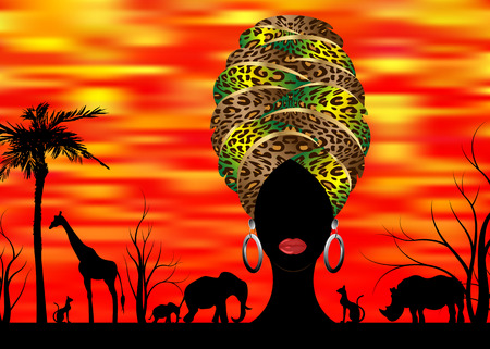 African safari animal silhouette portrait and portrait African woman in traditional turban, afro head wrap leopard texture with ethnic jewelery, vector isolated or sunset background