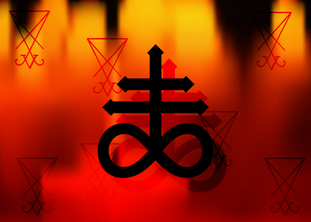 Leviathan Cross alchemical symbol for sulfur, associated with the fire and brimstone of hell. Vector black icon A sigil of Lucifer or print design, naval symbol, cross of Satan in fire background