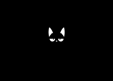 Black cat in the dark. The Vector logo cat for tattoo or T-shirt design or outwear. Cute print style cat background. Cat in shadow white line art