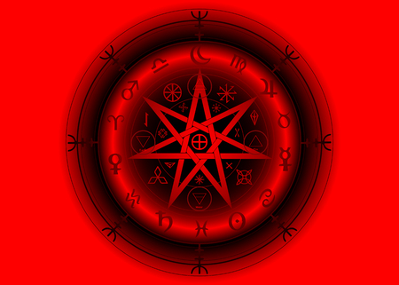 Wiccan symbol of protection. 3D Red Mandala Witches runes and alphabet, Mystic Wicca divination. Ancient occult symbols, Earth Zodiac Wheel of the Year Wicca Astrological signs, Heptagram Star vector 向量圖像