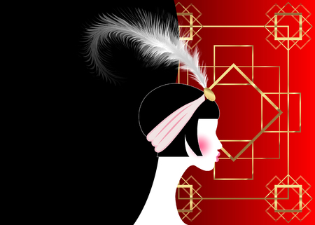 Flapper girl, retro woman of twenties. 1920s style retro party invitation design, fashion silhouette with feather, art print luxury Deco, vector gold and red black background