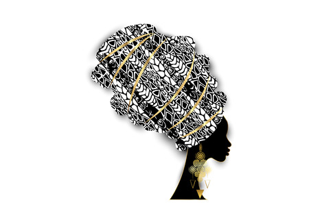 Vector retrato hermosa mujer africana en turbante tradicional, abrigo de cabeza Kente, impresión dashiki, mujeres afro negras vector silueta tela de decoración étnica batik de África, concepto de peinado Ilustración de vector