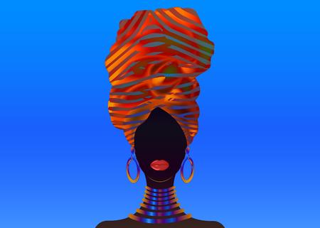 Vector portrait African woman in traditional striped turban, Kente head wrap, dashiki printing, black afro women vector silhouette Africa batik ethnic colorful decoration cloth, hairstyle concept Vektoros illusztráció