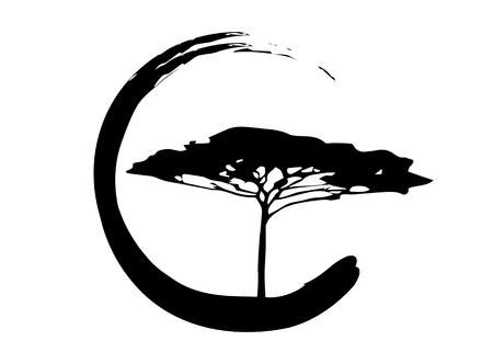 Afrikanische tropische Baumikone, Akazienbaum Savannah Silhouette, grünes Natursafari-Ökologiekonzept, biologisches Konzept Naturschutzvertrauen, Vektor lokalisiert auf weißem Hintergrund