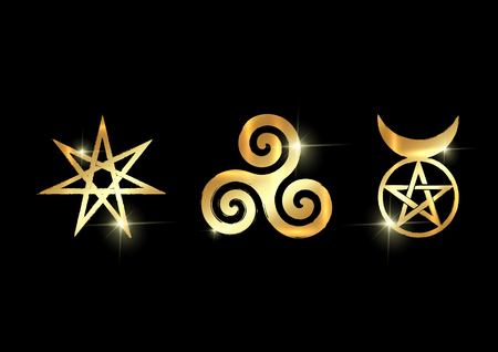 Set of Witches runes, golden wiccan divination symbols. The Elven star or the Seven-pointed Star, the Triskele or Triskelion, the Horned God. Gold shiny Ancient occult symbols vector isolated on black Illustration