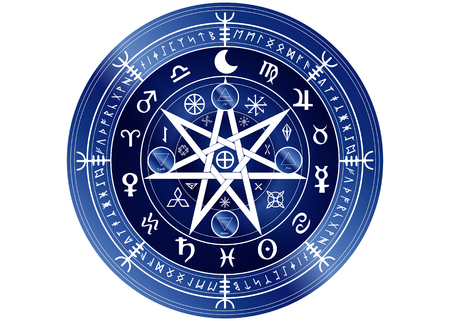 Wiccan symbol of protection. Blue Mandala Witches runes and alphabet, Mystic Wicca divination. Ancient occult symbols, Earth Zodiac Wheel of the Year Wicca Astrological signs, vector isolated or white