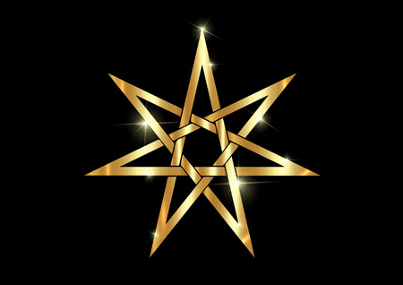 Seven point star or septagram, known as heptagram. Gold Elven or Fairy Star, magical or wiccan witchcraft heptagram symbol. Golden Heptagon mystic sign. Witches runes, wicca divination symbols
