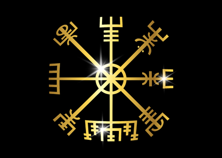 Decoding the ancient of the symbols Norsemen. Vegvisir Viking Golden Compass. The Vikings used many symbols in accordance with Norse mythology, widely used in the Viking society. Logo icon Wiccan esoteric Illustration