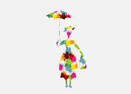 Silueta de niña con paraguas estilo splash multicolor, aislado sobre fondo blanco.