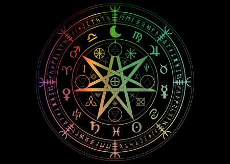 Wiccan symbol of protection. Set of Mandala Witches runes, Mystic Wicca divination. Colorful ancient occult symbols, Earth Zodiac Wheel of the Year Wicca Astrological signs, vector isolated or black