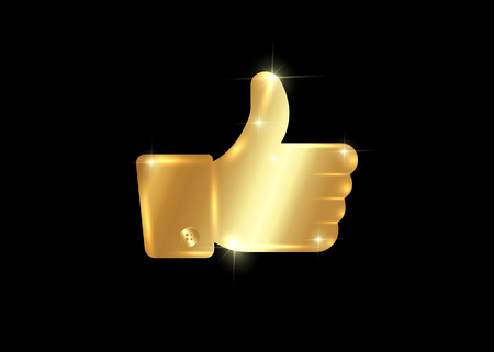 Thumb up symbol, golden finger up icon vector illustration isolated or black background