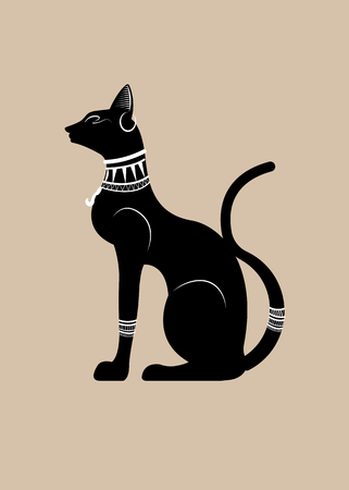 Black Egyptian cat statue. Bastet, ancient Egypt goddess, sculpture profile with pharaonic jewelry and precious stones, vector Illustration isolated or beige background
