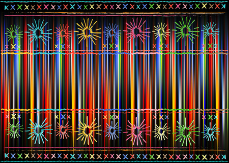 Mexican ethnic embroidery, Tribal art ethnic pattern. Colorful Mexican Blanket Stripes Folk abstract geometric repeating texture background, Vector striped multi color design background