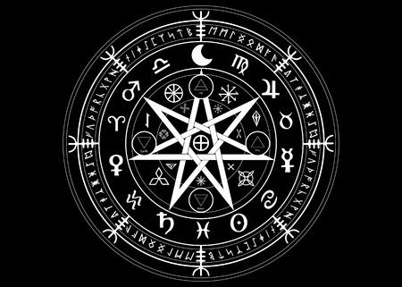 Symbole wiccan de protection. Ensemble de runes de sorcières de mandala, divination mystique de la Wicca. Symboles occultes antiques, roue du zodiaque terrestre de l'année Wicca signes astrologiques, vecteur isolé ou fond noir