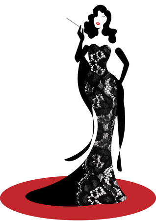 Shop logo fashion woman silhouette diva. Company brand name design, Beautiful girl cover retro woman in black lace embroidery Damask pattern dress, evening dress styling 1940s, 1950s, template
