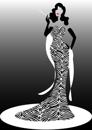 Shop logo fashion woman, black silhouette diva. Company brand name design, Beautiful luxury girl cover retro woman in zebra pattern dress, styling and striped evening dress 1940s, 1950s, template Illustration