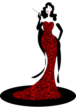 Shop logo fashion woman, black silhouette diva. Company brand name design, beautiful girl cover retro woman in red zebra pattern dress, styling and striped evening dress 1940s, 1950s, template