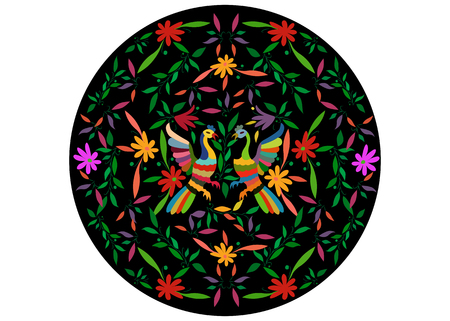 Ethnic Mexican tapestry with floral and peacock jungle animals hand-made. Naive print folk decorations. Latin, Spanish, mediterranean style. Colorful circular textile embroidery isolated