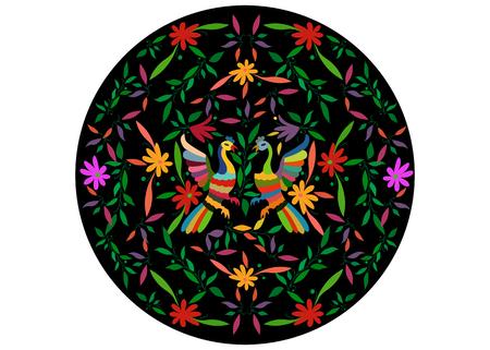 Tapisserie ethnique mexicaine avec animaux de la jungle florale et paon faite à la main. Décorations folkloriques imprimées naïves. Style latin, espagnol, méditerranéen. Broderie textile circulaire colorée isolée