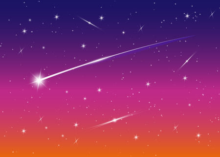 Shooting star background against dark blue starry night sky, vector illustration. Space background. Colorful galaxy with nebula and stars. Abstract futuristic backdrop. Stardust and shining stars Vetores