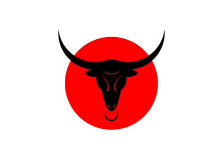 Taurus black bull head logo design template, red and black vector isolated