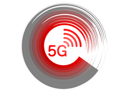5G new wireless internet wifi connection - 5g new generation mobile network icon, 5G stands for 5th Generation Wireless. Vector logo isolated or white background