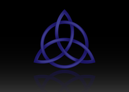 Triquetra logo, Trinity Knot, Wiccan symbol for protection. 3D Vector blue Celtic trinity knot set isolated on black background. Wiccan divination symbol, Ancient occult symbols Stock Illustratie