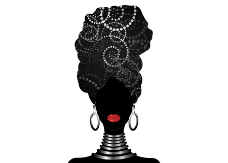 Ritratto di vettore donna africana in spirali tradizionali turbante, avvolgere la testa Kente, stampa dashiki, donne afro nere vector silhouette Africa batik, panno decorazione etnica zebra, logo del concetto di acconciatura Logo