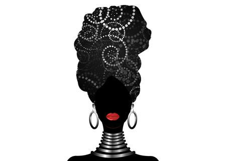 Vector retrato mujer africana en espirales tradicionales turbante, envoltura de cabeza Kente, impresión dashiki, silueta de vector de mujeres afro negras batik de África, tela de decoración de cebra étnica, logotipo de concepto de peinado Logos