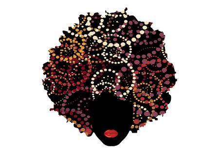 capelli ricci afro, ritratto donna africana, viso femminile pelle scura con capelli ricci etnici, stile cartone animato