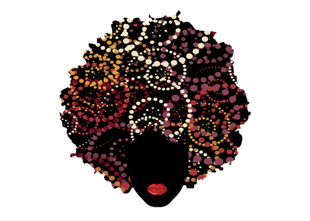 curly afro hair, portrait African woman, dark skin female face with ethnic curly hair, cartoon style Illustration