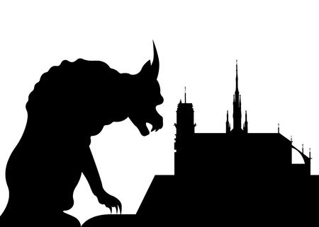 Notre Dame de Paris and gargoyle, France, Paris city symbols, vector silhouette isolated Stock Illustratie