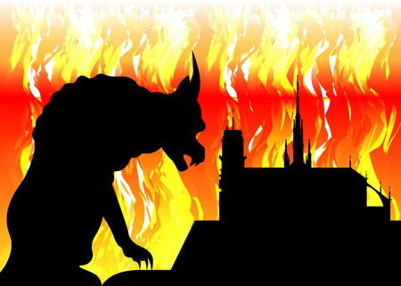 Notre Dame de Paris and gargoyle on fire, France, Paris city symbols, vector silhouette isolated or fire flames background