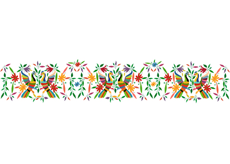 Mexican Traditional Textile Embroidery Style from Tenango City, Hidalgo, Mexico. Floral Composition Template with Birds, Peacock, colorful seamless frame isolated composition or white background Ilustração