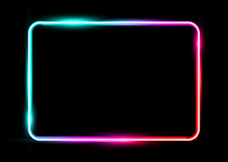 White colorful neon shiny glowing vintage frame isolated or black background. Multicolored neon tube realistic rectangle border, vector template illustration
