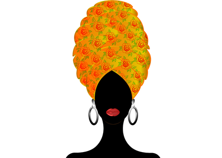 Portrait beautiful African woman in traditional turban, Kente head wrap, dashiki printing, Afro women scarf vector silhouette Africa batik ethnic flowers decoration Ankara style cloth, hairstyle Ilustración de vector
