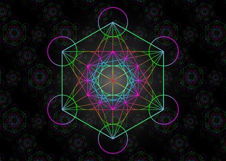 Cube de Metatrons, Fleur de Vie colorée. Géométrie sacrée