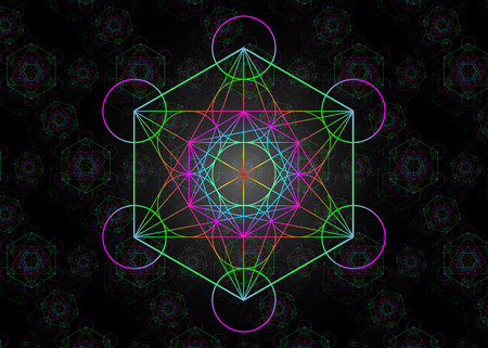 Metatrons Cube, Colorful Flower of Life. Sacred geometry