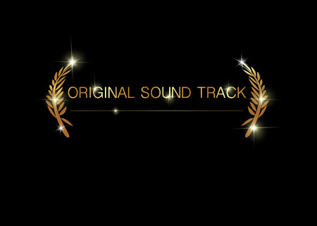 original sound track concept. Gold vector best music awards winner concept template with golden shiny text isolated or black background. Best original soundtrack prize icon Illustration