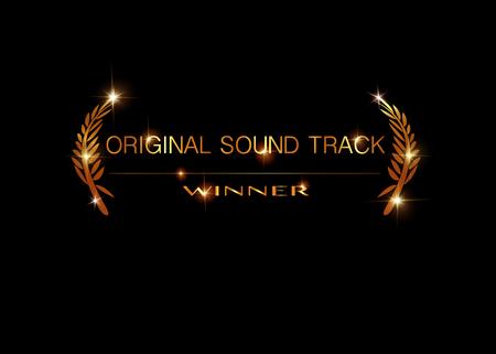 Original-Soundtrack-Konzept. Golden Vector Best Music Awards Gewinner Konzeptvorlage mit goldenem glänzendem Text isoliert oder schwarzem Hintergrund. Preissymbol für den besten Original-Soundtrack