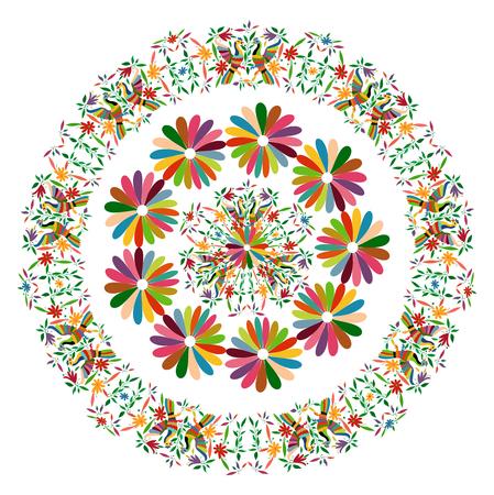Tapiz étnico mexicano con bordados florales y animales de la selva pavo real hecho a mano. Decoraciones folclóricas con estampados ingenuos. Estilo latino, español, mediterráneo. Mandala de flor colorida circular textil aislado