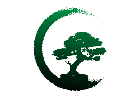 Japanese bonsai tree, plant silhouette icons on white background, green ecology, black silhouette of bonsai. Detailed image. Bio nature concept. Vector isolated Çizim