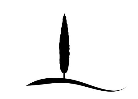Icône de cyprès. Illustration simple de l'icône de vecteur de cyprès pour le web. Silhouette italienne de cyprès le paysage typique de la Toscane. Conception de logo de ferme biologique d'écologie vecteur isolé ou fond blanc Logo