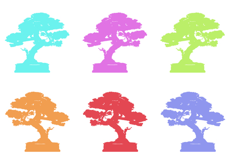 set Japanese bonsai tree, plant silhouette icons on white background, green ecology, colorful silhouette of bonsai. Detailed image. Bio nature concept. Japanese color style, Vector isolated Ilustração
