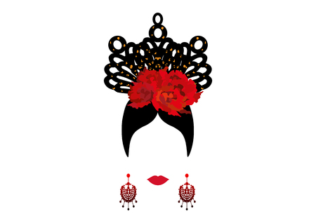 Vector Portrait of traditional Latin or Spanish woman, Flamenco Icon isolated