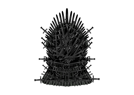 Hand drawn iron throne of Westeros made of antique swords or metal blades. Ceremonial chair built of weapon isolated on white background. Beautiful fantasy design element. Throne Vector illustration
